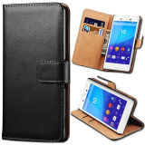 LuxuxGenuine Leather Phone Fall für Sony Xperia M4 Wallet Stand Card Holder Sleeve Flip Cover