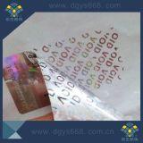 Etiqueta evidente do holograma da calcadeira feita sob encomenda do texto