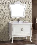 Solid semplice Wood Floor Standing Antique Bathroom Vanity con Mirror