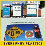 El plástico acanalado cubre 4X8 Coroplast para hacer publicidad de la muestra