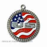 Médaille molle faite sur commande de médaillon de logo de drapeau américain d'émail (M-08)