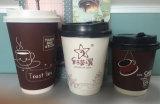 Tazas de café dobles de categoría alimenticia disponibles de la pared con las tapas