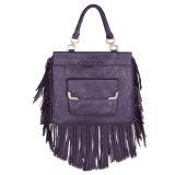 Мешок Tote PU сумки края Tassel женщин пурпуровый кожаный
