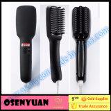 Escova cor-de-rosa do Straightener do cabelo do LCD do preto