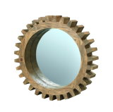 Gear Shape Small Wooden Mirror Frame Nautral Pine Wood Wall Decor