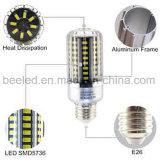 La luz E26 15W del maíz del LED refresca la lámpara de plata blanca del bulbo de la carrocería LED del color
