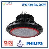 5 anos de luz elevada do diodo emissor de luz do louro do UFO da garantia 200W com a microplaqueta do diodo emissor de luz da Philips e a fonte de alimentação de Meanwell