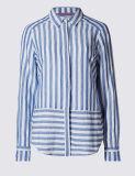 女性の綿のブレンドのストライプのシャツ