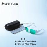 Protetor novo do laser com vidros de segurança Od4+@630-660nm dos óculos de proteção protetores do laser do certificado do Ce En207, Od5+@800-830nm para a remoção do cabelo do laser 808nm