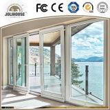 Porte coulissante personnalisée par usine des prix d'usine de la Chine de la fibre de verre UPVC de bâti en plastique bon marché de profil avec le gril à l'intérieur