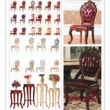 Tabela de madeira com a cadeira de couro do sofá para a mobília da sala de jantar