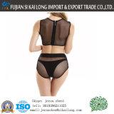 Erfasste das Ineinander greifen-Gewebe-Bikini-gesetzter Stahlhalter 2017 Frauen reizvoller Brust-Badeanzug-hoher Taillen-Bikini-Badebekleidungbeachwear-Badeanzug