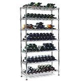 Crémaillère d'étalage enduite d'époxyde réglable de vin en métal de 5 rangées de supermarché