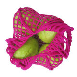Sac net de coton rose lumineux de couleur avec la poche intrinsèque