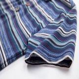 人の多彩なしまのある完全な印刷されたポロシャツのための最新のワイシャツの綿ポリエステル