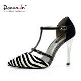 Ботинки платья женщин T-Планки высокой пятки повелительницы Остроконечн Пальца ноги кожаный