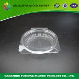 Contenitore di imballaggio di plastica a gettare rotondo dell'alimento e dell'insalata con il coperchio provvisto di cardini