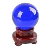 Bola 90m m azul grande del color del vidrio cristalino de la talla 80m m