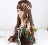 Ретро волосы пера павлина соединяют держатель шерстей Hand-Woven