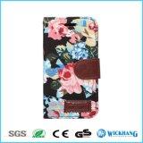 Случай мобильного телефона кожи ткани цветка