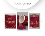 Retro contenitore cilindrico di carta rosso tinto di pacchetto delle derrate alimentari di sanità