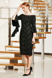 Elegant weg vom Schulter MIDI-Kleid mit Rüsche-Bell-Hülse und Schlitz-Vorderseite