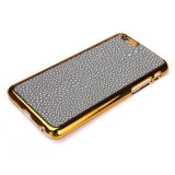 Hotsale que Gold-Plating a caixa de couro do telefone de PC+PU