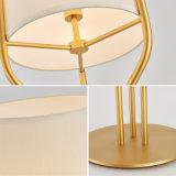 Lámpara del soporte de la carrocería LED del oro de la lámpara de suelo del paño LED de la tela
