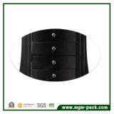 Caixa de armazenamento de madeira preta da jóia com gaveta