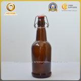 Bottiglie di vetro di vendita di colore caldo della radura per birra con la parte superiore dell'oscillazione (076)