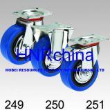 Blaue elastische Schwenker-Gesamtverriegelungs-Fußrolle