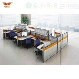 Bureau de poste de travail de bureau de 4 portées avec le poste de travail d'ordinateur de classeur d'huche