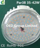 120 luz da PARIDADE do diodo emissor de luz do bulbo 42W 2700k 4500lm do diodo emissor de luz do grau E26 E27 PAR38 com tampa desobstruída IP65 Dimmable do PC do FCC