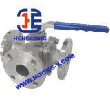 Robinet à tournant sphérique de flottement à trois voies d'actionneur pneumatique d'acier inoxydable d'API/DIN/JIS