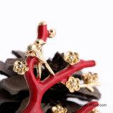 최신 판매 도매 형식 빨간 꽃 모양 여자의 브로치 보석