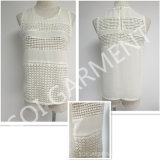 Neue Art-Chiffon- Spitze-Sleeveless Bluse für Frauen (BL-243)