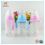 Botella que introduce de la leche plástica ancha azul y rosada del cuello con las manetas dobles