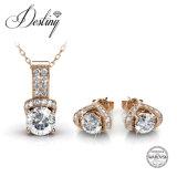 Het Kristal van de Juwelen van het lot van de de Vastgestelde Tegenhanger en Oorringen van Swarovski EVA