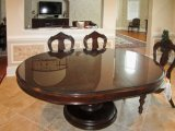 8mm passten ovale Form-Tisch-Oberseite-ausgeglichenes Glas-polierte Ränder an