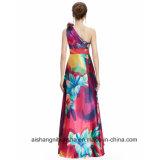 Robe de bal d'étudiants de soirée d'impression floral d'Un-Épaule de femmes