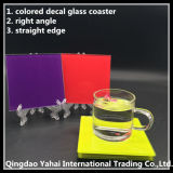 4mm Red Colored Square Glass Coaster