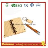 Papeterie en bambou réglée avec le cahier et la chaîne principale