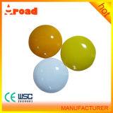 Ventes chaudes 4inch blanches/réflecteur rond de plot réflectorisé goujon en céramique jaune de route