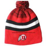 Le ski acrylique adapté aux besoins du client d'hiver de laines brodé par logo folâtre le chapeau tricoté chaud de Beanie