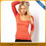T-shirt de femmes de chemise de qualité de coton de la coutume 100 long