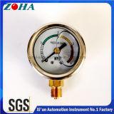 1,5 pouces / 40 mm Demi demi ss compteurs de pression remplis d'huile mini type cadran couleur pour alarme