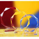 Récompense en verre de trophée en cristal clair bon marché blanc de tournesol