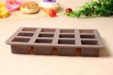 12 copos do molde quadrado do chocolate do pudim da geléia do molde dos doces do bolo do silicone da forma