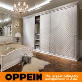 3-Door moderno que resbala el dormitorio al por mayor de cuero construido en guardarropa de madera