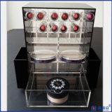 Supporto acrilico girante nero del rossetto di Customerized con il marchio